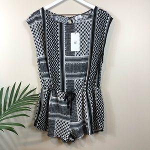 Zara TRF Black/White S Romper Open Back NWT